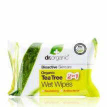 Dr. Organic Nedves törlőkendő Bio Teafával 20 db