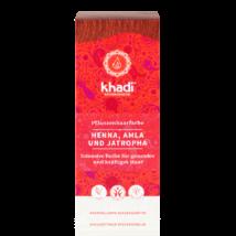 KHADI Növényi hajfesték por Vörös henna, amla és jatropha növényekkel 100 g