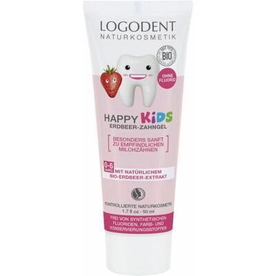 LOGODENT Happy Kids Fluoridmentes gyermek foggél bio eperkivonattal 50 ml